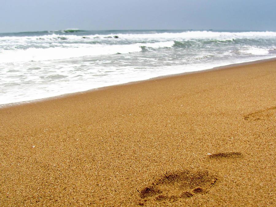 Footprint On Sandy Beach With The Waves Photograph by Amlan Mathur