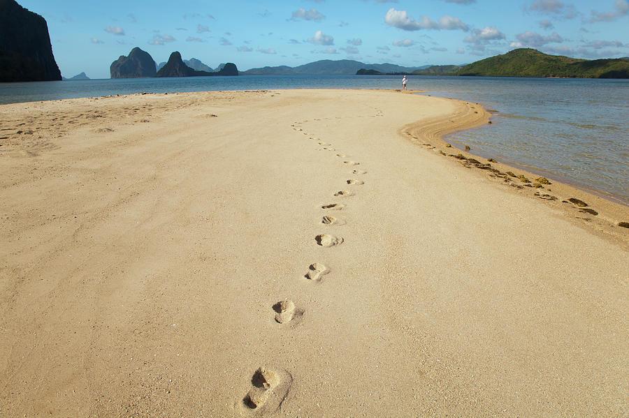 Footprints On A Sand Island Near El Photograph by Sean White / Design Pics