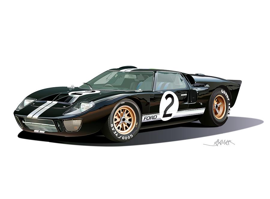 Ford Gt 40 Illustration Drawing by Alain Jamar