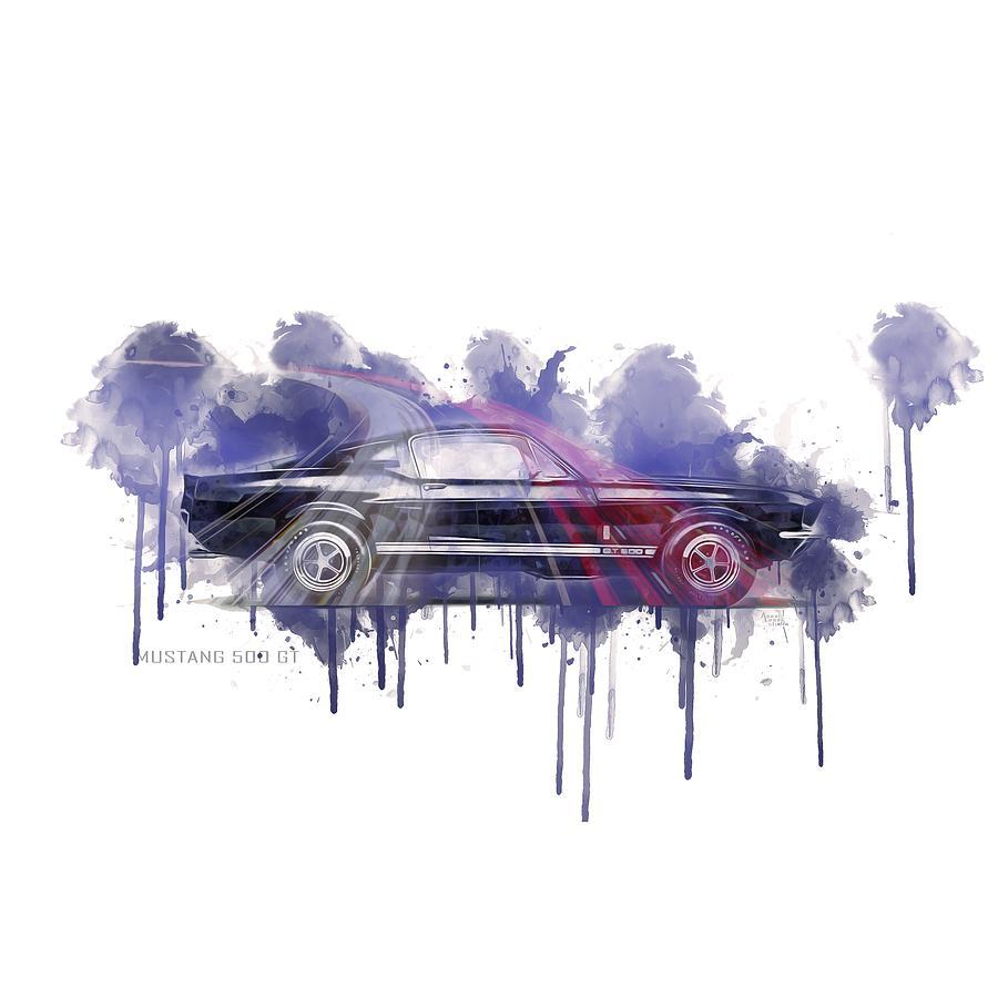 Ford Mustang Gt500 Painting - Ford Mustang Gt500 Splash Art by Aaaah Eeeek Studio