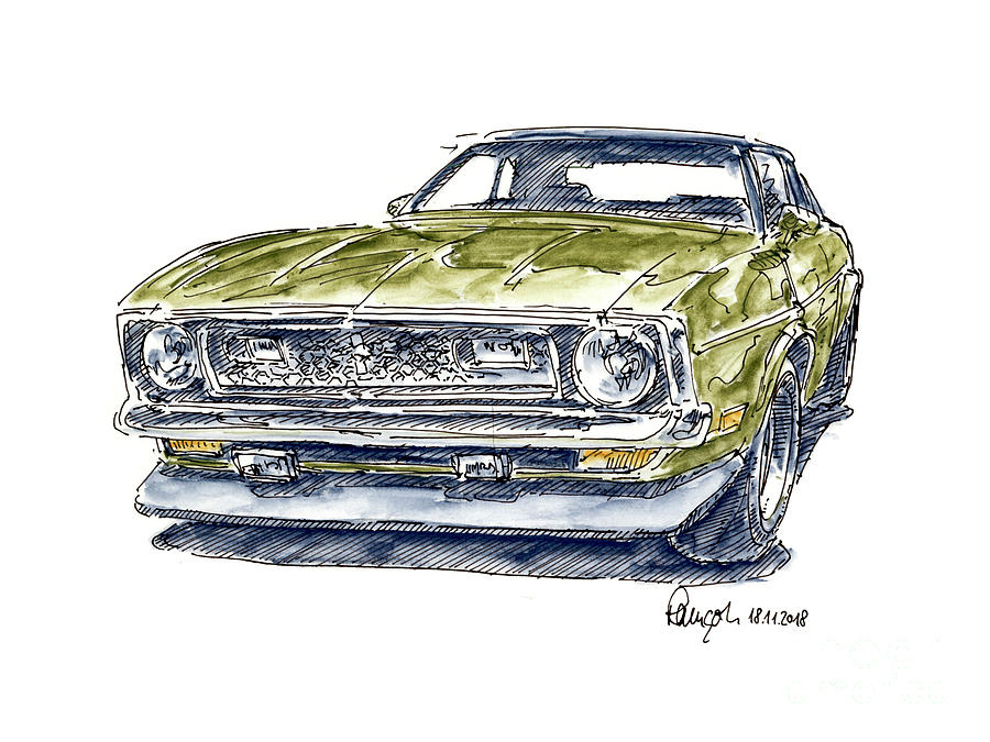 ford mustang mach 1 muscle car ink drawing and watercolor