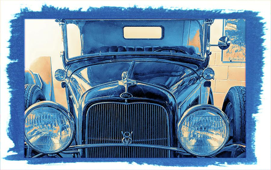 Ford V8 Coup 1920s Vintage Classic Car Blue by Joan Stratton