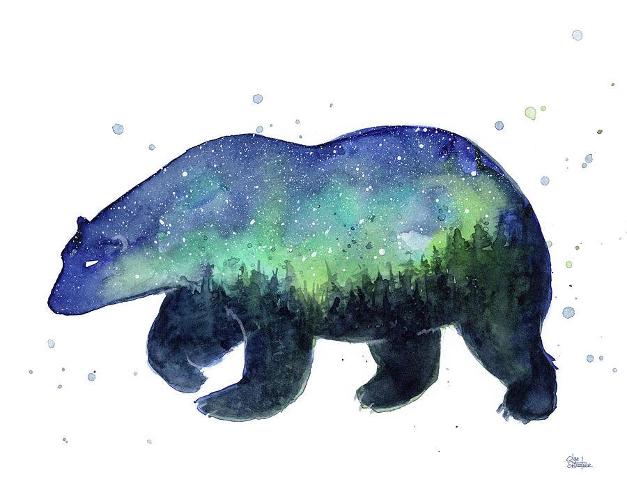 Galaxy Painting - Forest Bear Galaxy by Olga Shvartsur