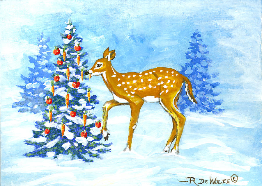 Forest Christmas Banquet Sketch by Richard De Wolfe