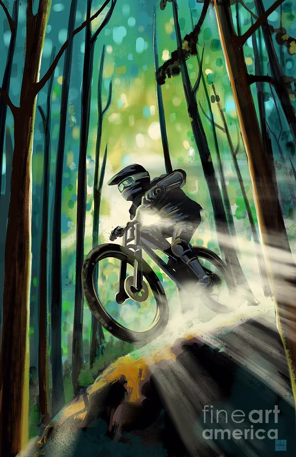 Forest jump mountain biker by Sassan Filsoof