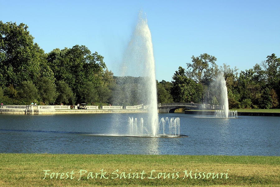Water Fountains Photograph - Forest Park Fountains by John Lautermilch