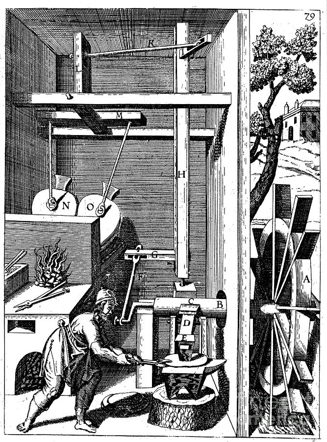 Forge With Bellows Driven By An Drawing by Print Collector