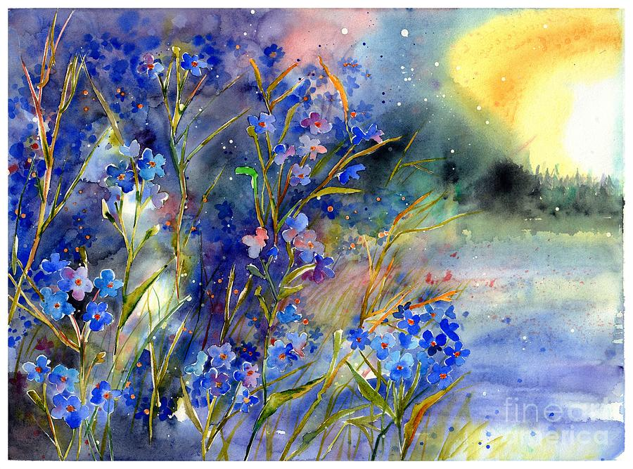 Cosmic Painting - Forget-me-not watercolor by Suzann Sines