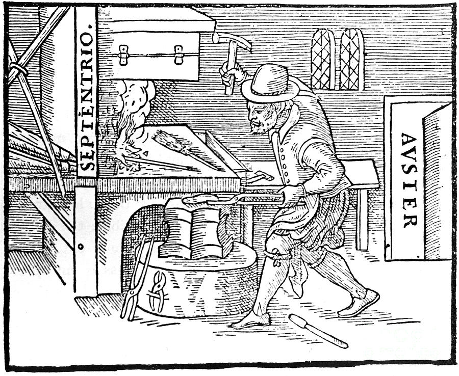Forging A Magnet, 1600 Drawing by Print Collector