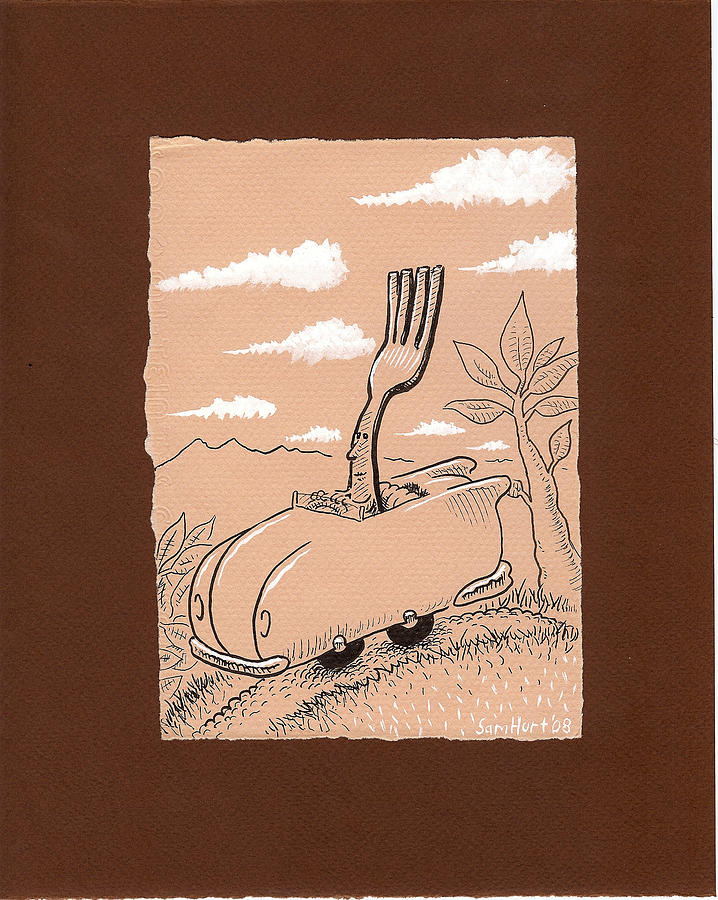 Fork Drawing - Fork On The Road by Sam Hurt