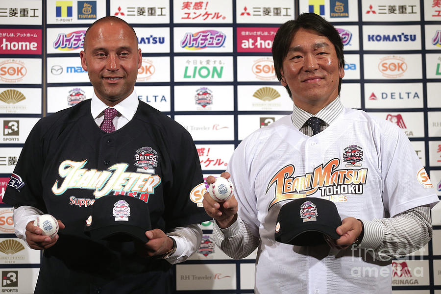 Former Yankees Jeter And Matsui Hold Photograph by Chris Mcgrath