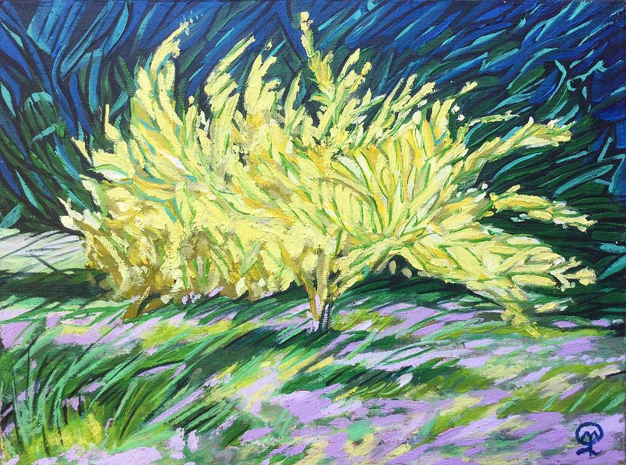 Forsythias Painting - Forsythias by Therese Legere
