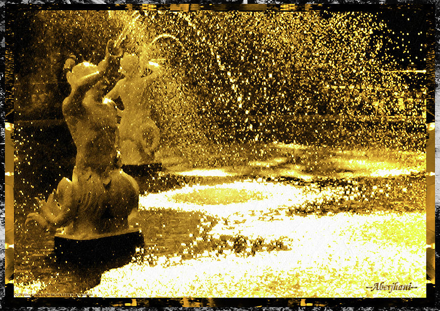 Gold Photograph - Forsyth Park Tritons in a Cascade of Gold by Aberjhani