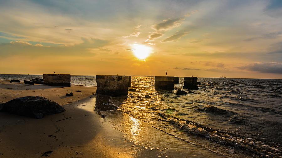 Fort Morgan Sunset - Stones by James-Allen