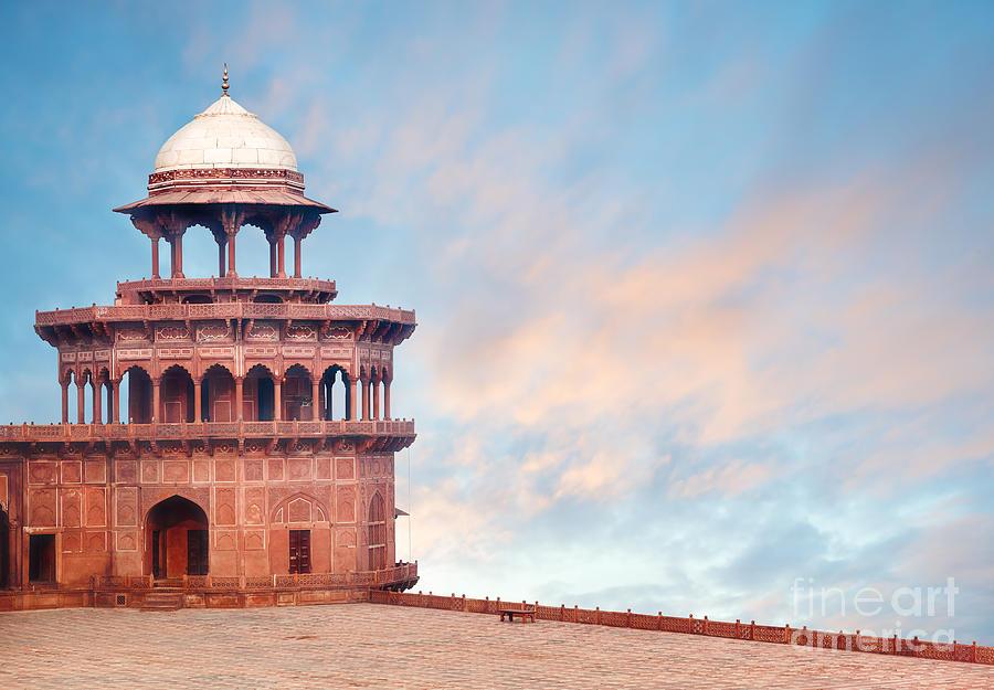 Uttar Photograph - Fort Tower, Detail Of Taj Mahal by Serg Zastavkin