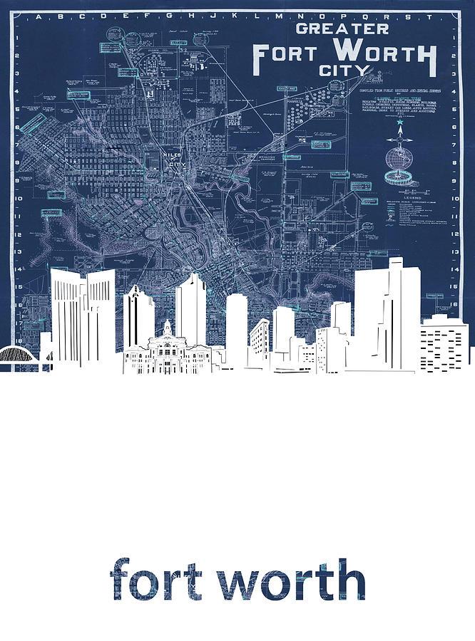 Fort Worth Skyline Map Blue Digital Art