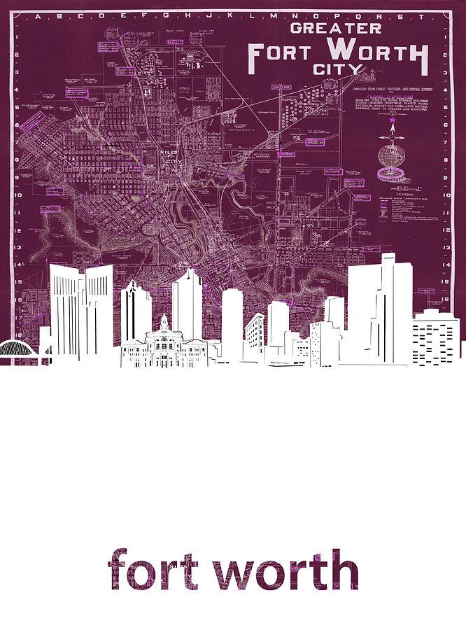 Fort Worth Digital Art - Fort Worth Skyline Map Red by Bekim M