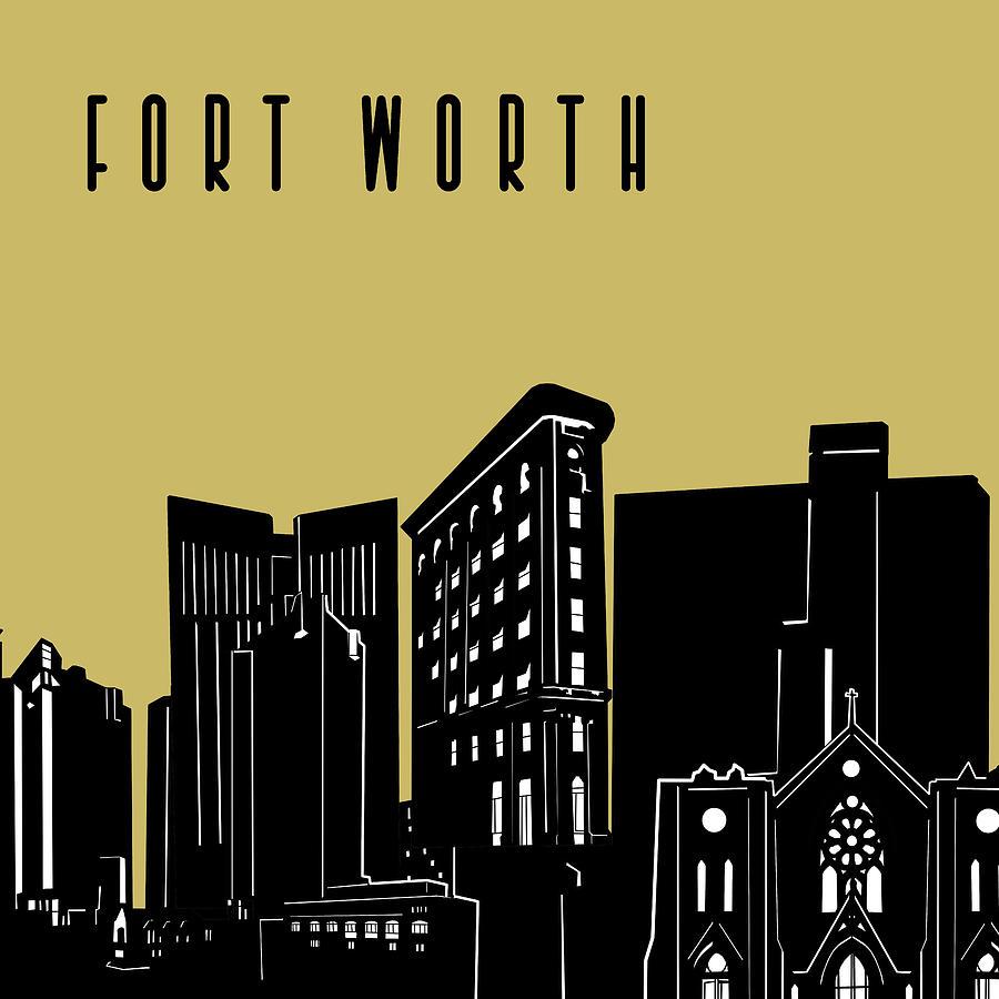Fort Worth Skyline Panorama Yellow Digital Art