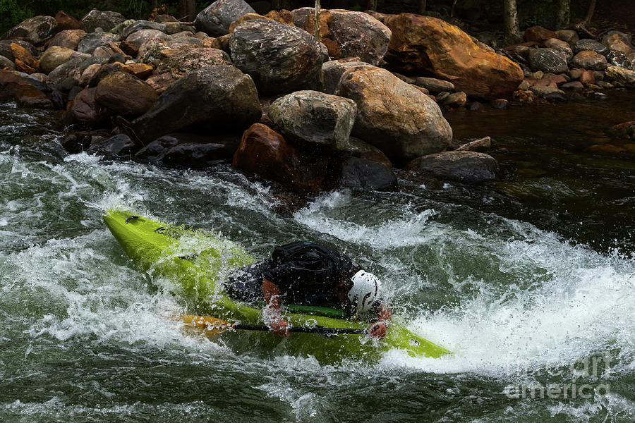 Forward Lean In Whitewater Kayak by Les Palenik