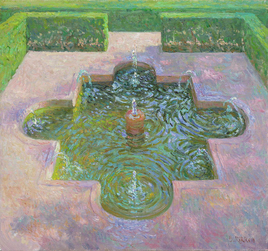 Alahambra Painting - Fountain At The Alahambra by Ben Rikken