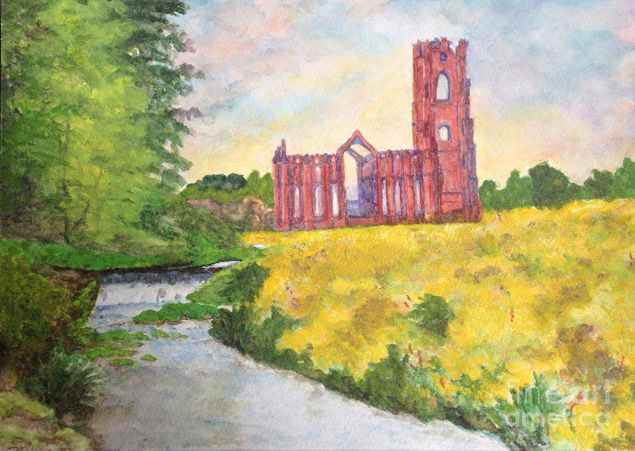 Fountains Abbey In Yorkshire Through Japanese Eyes Painting by Sawako Utsumi