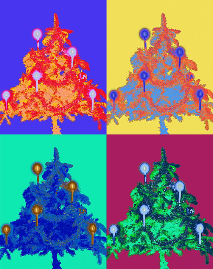 Four Christmas Trees Decorated With Photograph by Peter Weber