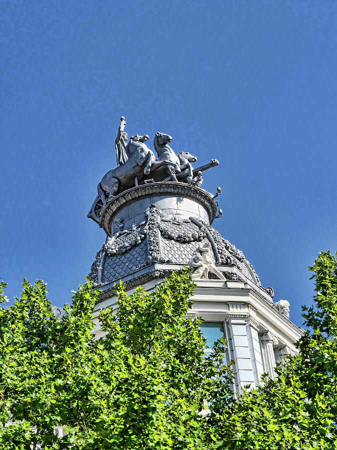Four Horse Chariot Statue - Madrid Photograph