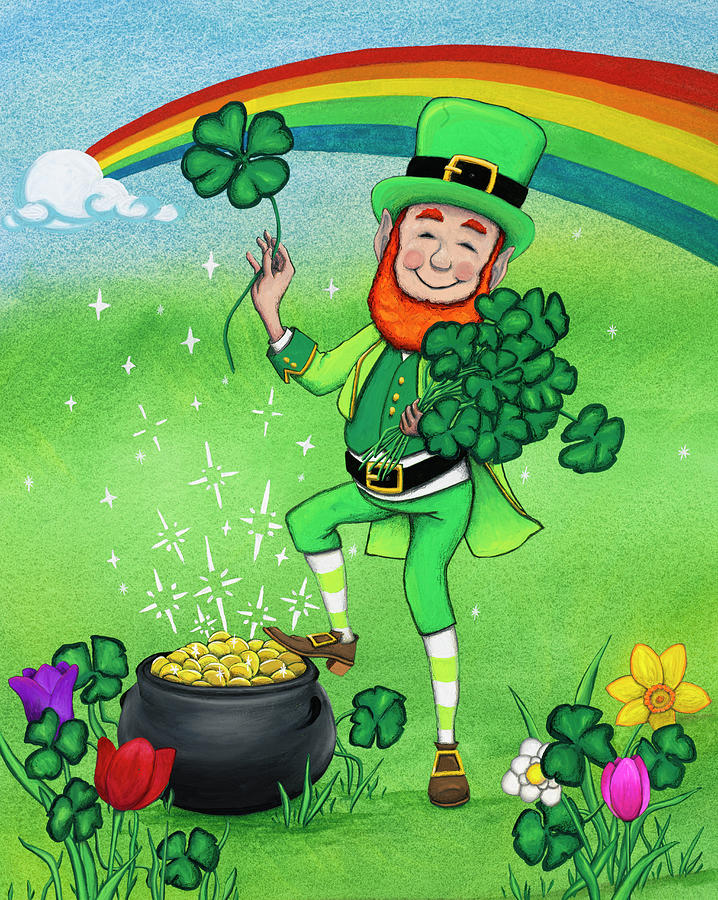 St. Patrick's Day Painting - Four Leaf Clover Leprechaun by Kathy Kehoe Bambeck
