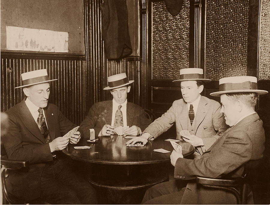 Four Men Playing Cards B&w Sepia Tone Photograph by Fpg