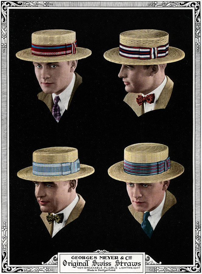 Four Men Wearing Boater Hats Digital Art by Graphicaartis