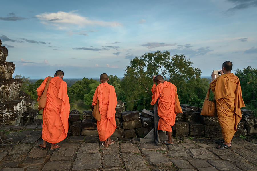 Angkor Wat Photograph - Four Monks And A Phone. by Ian Robert Knight