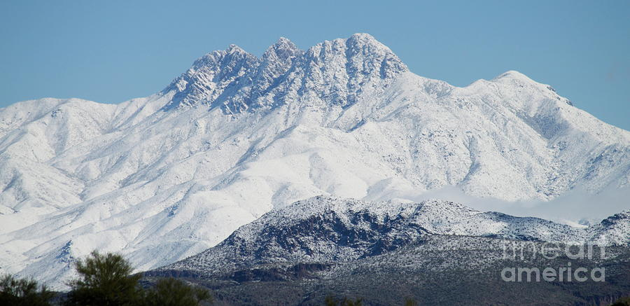 Four Peaks covered in snow by Pamela Walrath