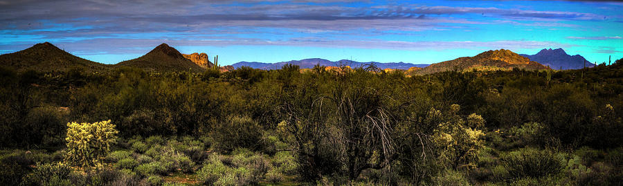 Four Peaks Panorama From The Superstition Wilderness by Roger Passman