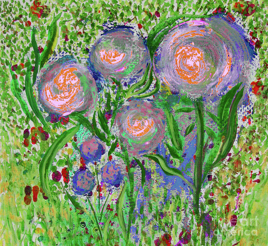 Four Pink Flowers in Green by Corinne Carroll