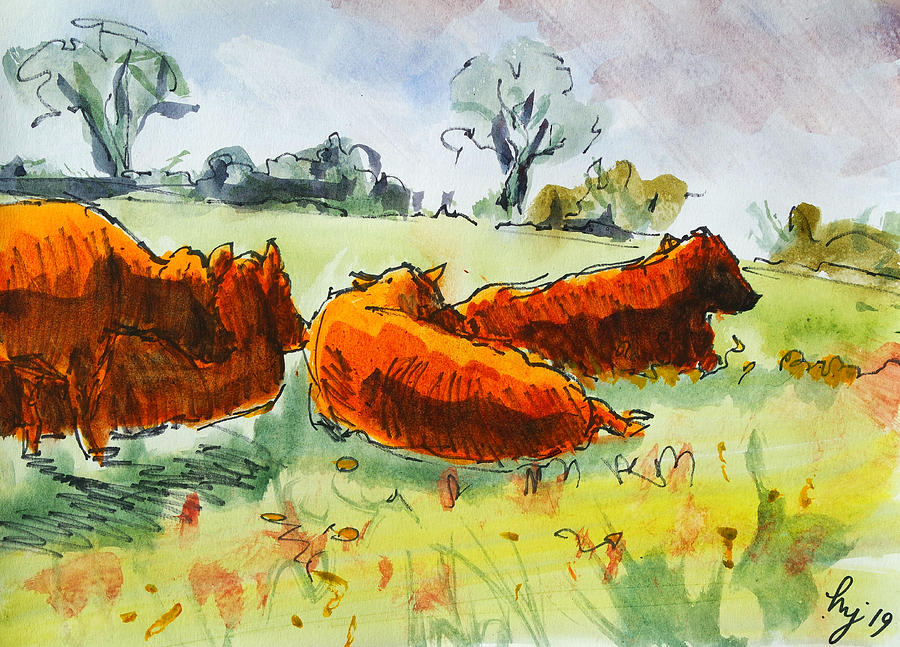 Four red poll cattle lying down in field watercolour landscape cow en plein air painting by Mike Jory