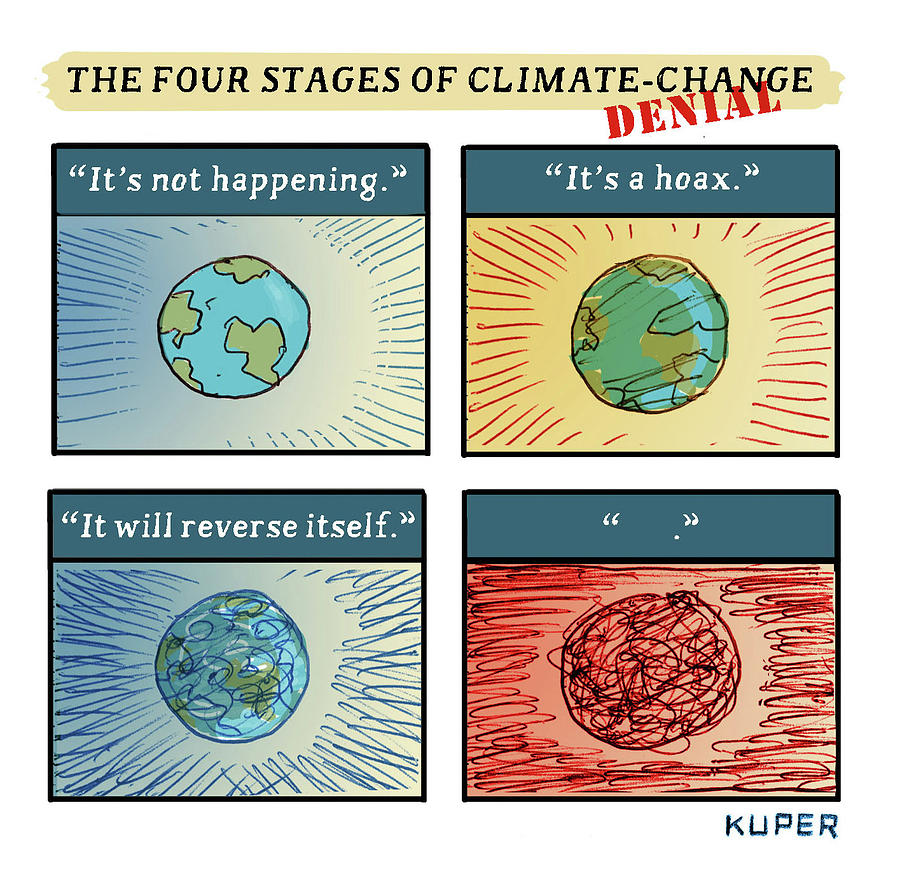 Four Stages of Climate Change Drawing by Peter Kuper
