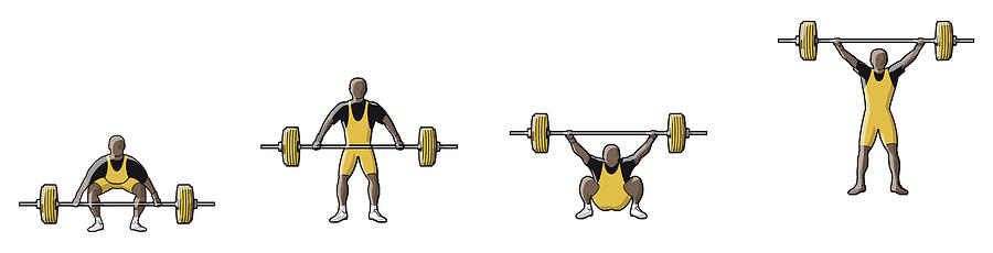 Four Stages Of Weightlifter Lifting Digital Art by Dorling Kindersley