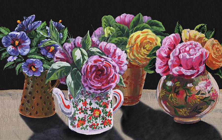 Four Vases With Garden Flowers Impressionism  by Irina Sztukowski