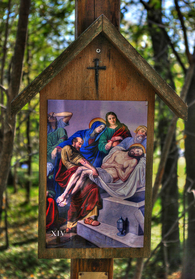 Fourteenth Station of the Cross - Jesus is Laid in the Tomb - John 19, Verses 40-42 by Michael Mazaika