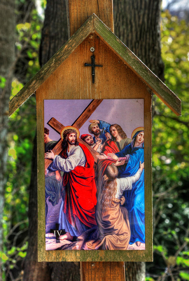 Fourth Station of the Cross - Jesus Meets His Mother by Michael Mazaika