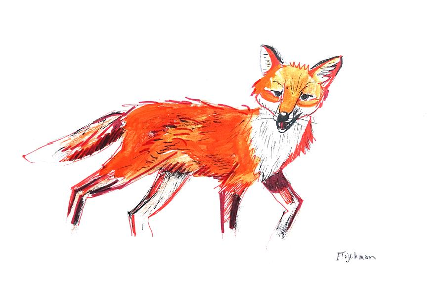 Fox Painting - Fox by Ed Tajchman