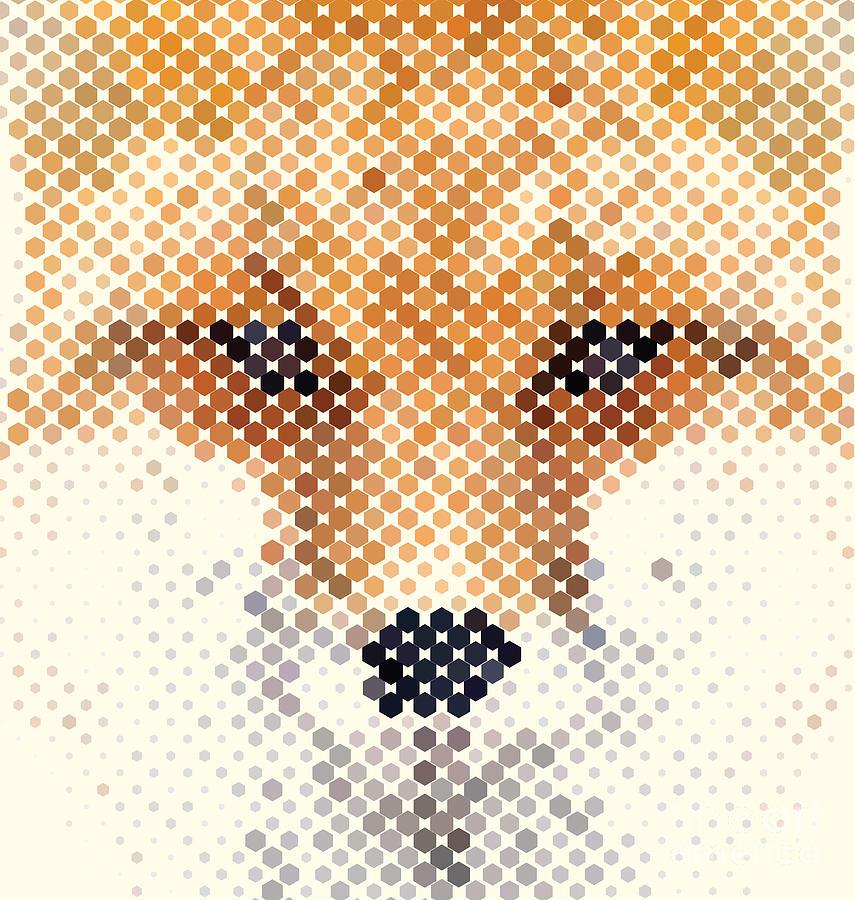 Canidae Digital Art - Fox Portrait Made Of Geometrical Shapes by Vilmos Varga