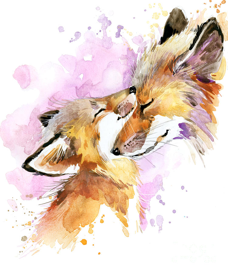 Forest Digital Art - Fox Watercolor Illustration Mothers by Faenkova Elena