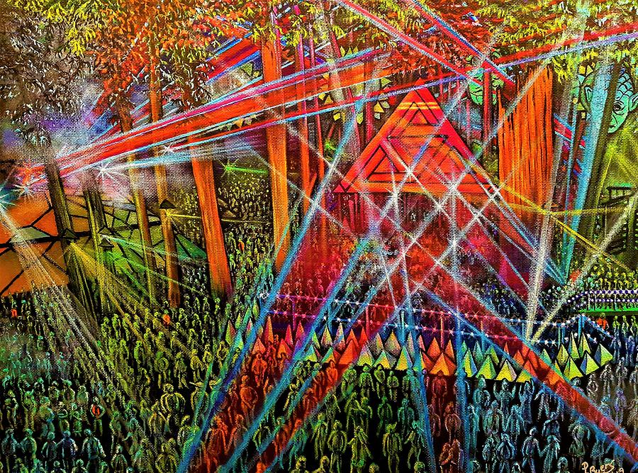 Music Festival Painting - Fractal Forest by Donna L Byers