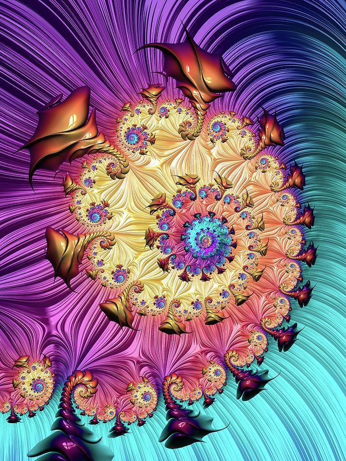 Fractal Spiral With Amazing Colors Vertical Digital Art