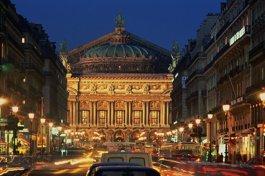 France,paris,opera Garnier Illuminated Photograph by Roger Wright