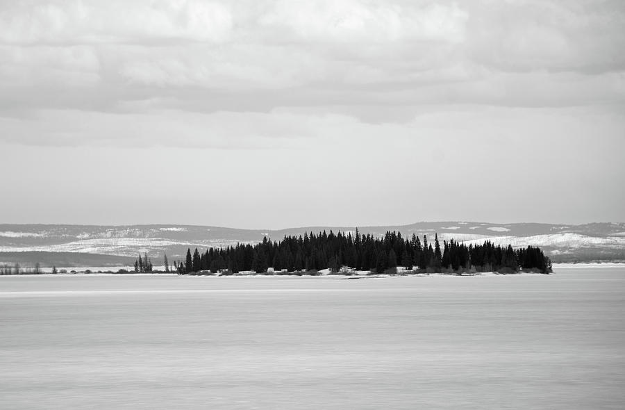 Frank Island in Yellowstone Lake Black and White by Bruce Gourley