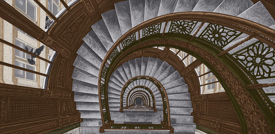 Spiral Stairway Drawing - Frank Lloyd Wright - The Rookery by Clint Hansen