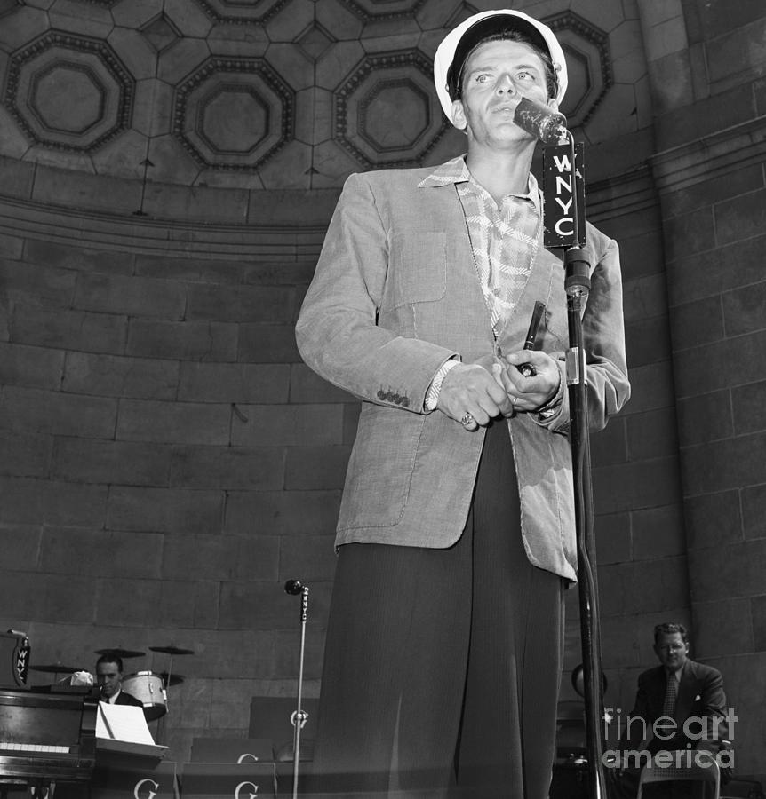 Frank Sinatra Crooning Into Microphone Photograph by Bettmann