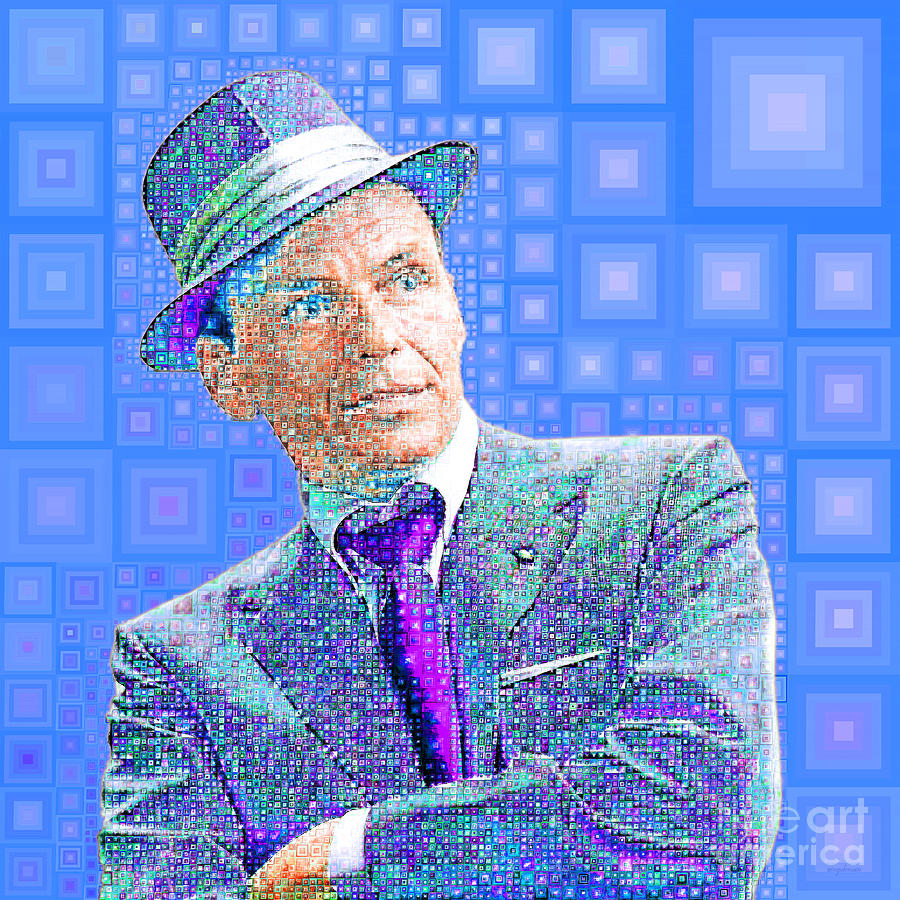 Frank Sinatra Old Blue Eyes In Abstract Squares 20190218 by Wingsdomain Art and Photography